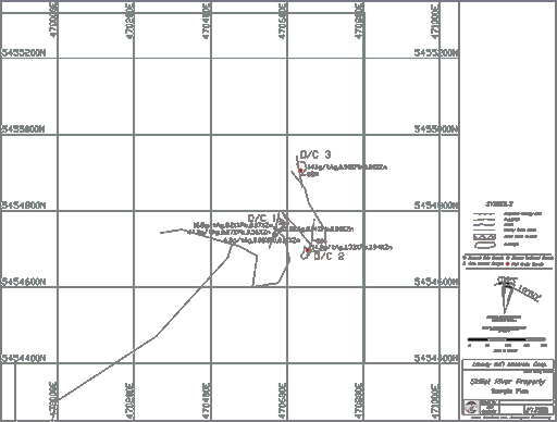 Skillet Creek exploration map with 3 exploratory drill targets