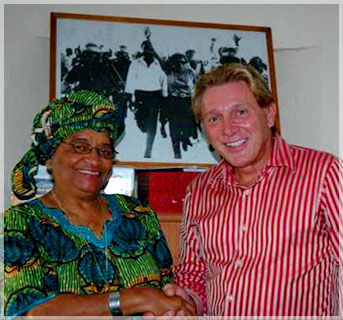 Len Lindstrom with Her Excellency Ellen Sirleaf-Johnson, the President of Liberia