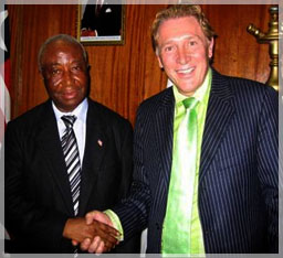 Len Lindstrom with the Vice President of Liberia, the Honorable Joseph Boakai