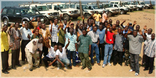 A portion of Liberty's geologists, field technicians and truck fleet in Liberia Christmas 2007