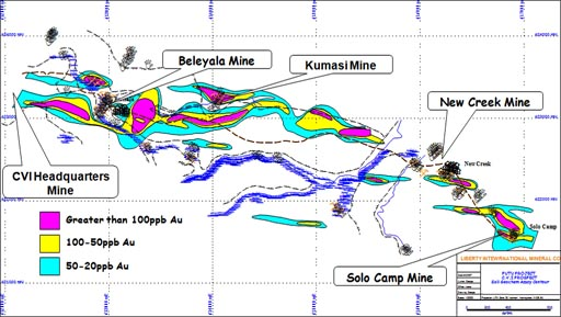 Solo Camp Mining site – the last of the five major mining sites and apparent end of the main identified strike zone / CVI
